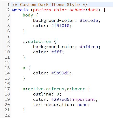 深色模式CSS代码示例